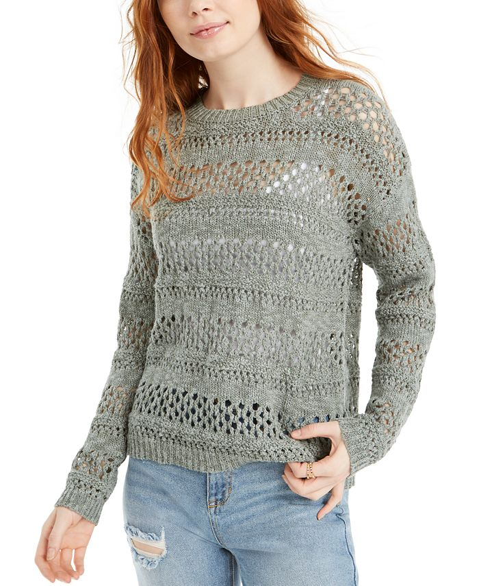 Hooked Up by IOT - Juniors' Open-Stitch Sweater
