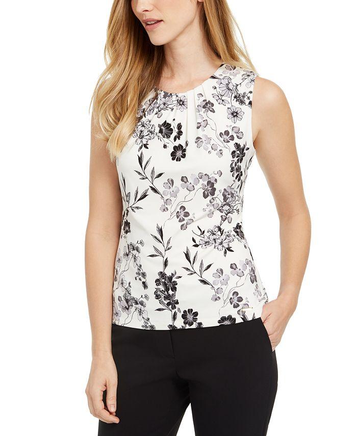 Calvin Klein - Printed Pleat-Neck Camisole