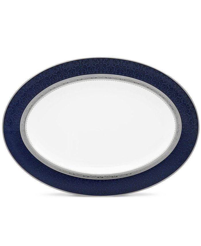 "Noritake - Odessa Cobalt Platinum Oval Platter, 14"""