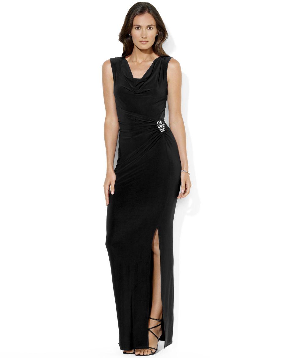 Lauren Ralph Lauren Petite Dress, Sleeveless Sequin Lace Gown   Dresses   Women