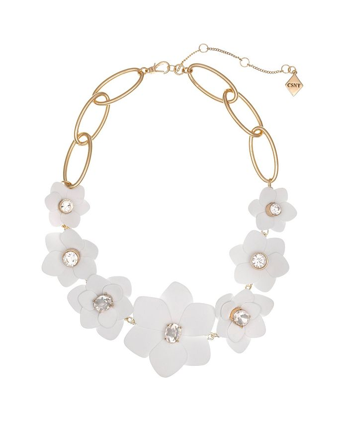 Christian Siriano New York - Gold Tone and White Flower Collar Necklace with Crystal Stone Accents
