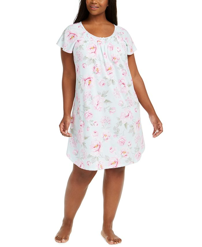 Miss Elaine - Plus Size Rose-Print Sleep Shirt