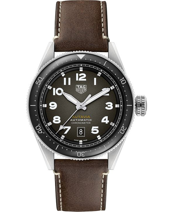 TAG Heuer Autavia Men's Swiss Automatic Chronometer Brown Leather Strap Watch 42mm