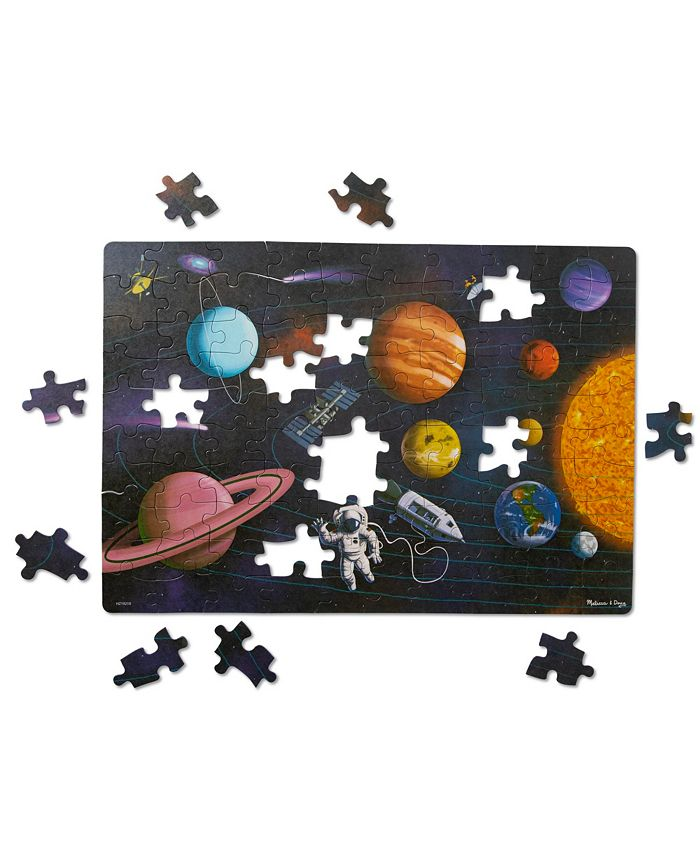 Melissa and Doug - Natural Play Cardboard Jigsaw Floor Puzzle: Outer Space 100 Pieces