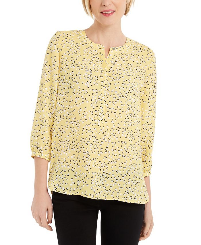 JM Collection - Petite Printed Pleated-Back Top