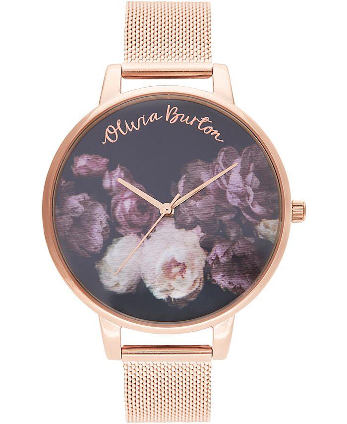 Olivia Burton - Women's Fine Art Rose Gold-Tone Stainless Steel Mesh Bracelet Watch 38mm