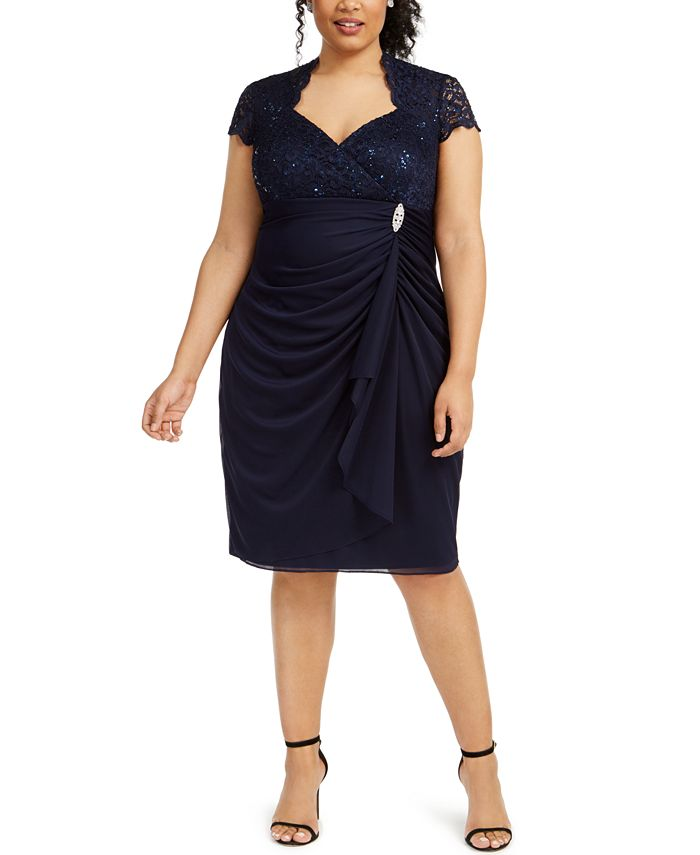 Betsy & Adam - Plus Size Sequined Lace Draped Dress