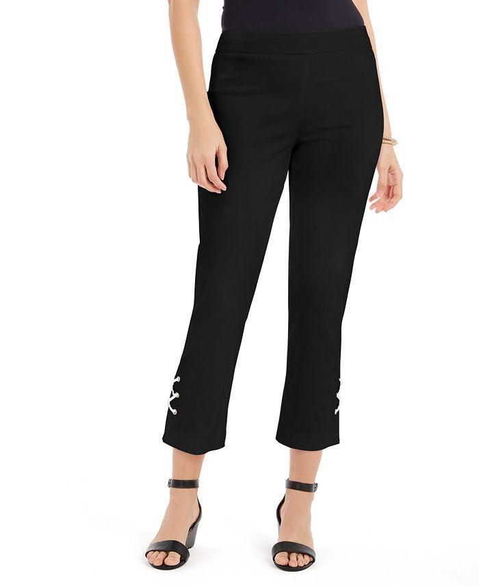 JM Collection - Lace-Up Tummy-Control Ankle Pants