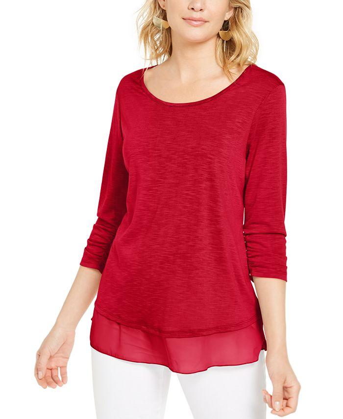 Style & Co - Chiffon-Hem Three-Quarter-Sleeve Top