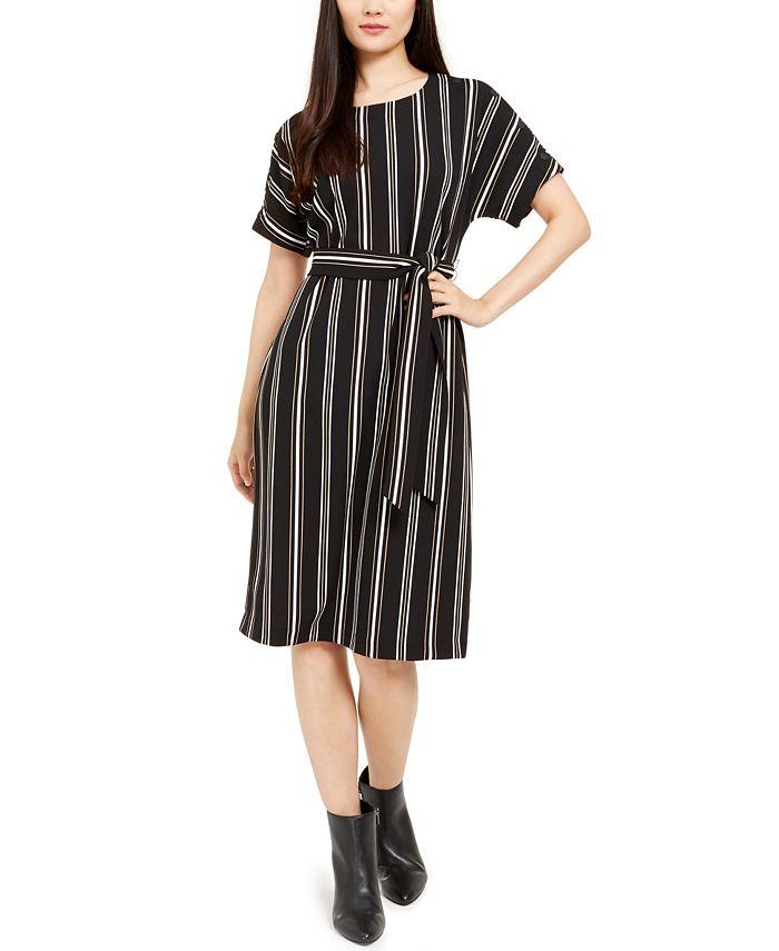 Alfani - Petite Striped Tie-Waist Dress, Created For Macy's