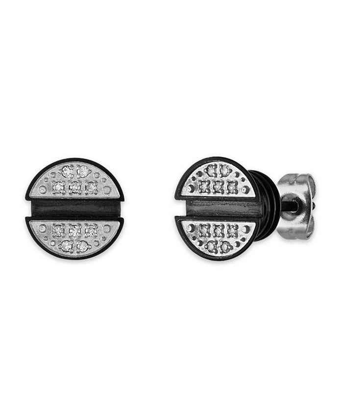 Macy's - Men's 1/10 Carat Diamond Earrings in Stainless Steel