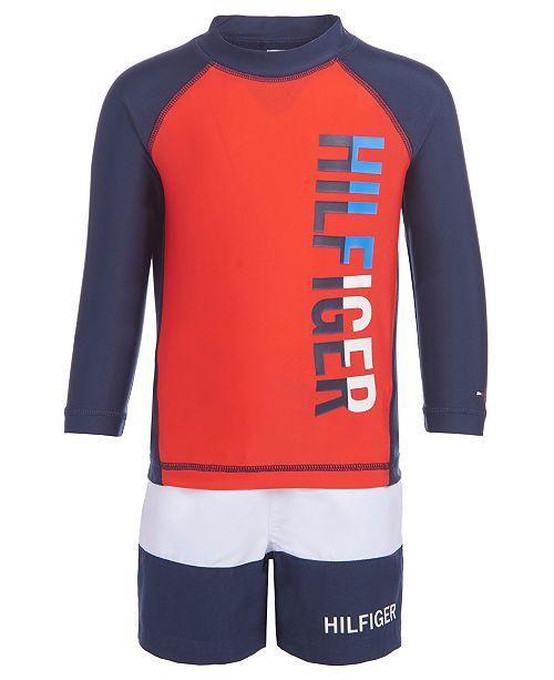 Tommy Hilfiger Baby Boys 2 Pc Rash Guard Swim Trunks Set Reviews Swimwear Kids Macy S