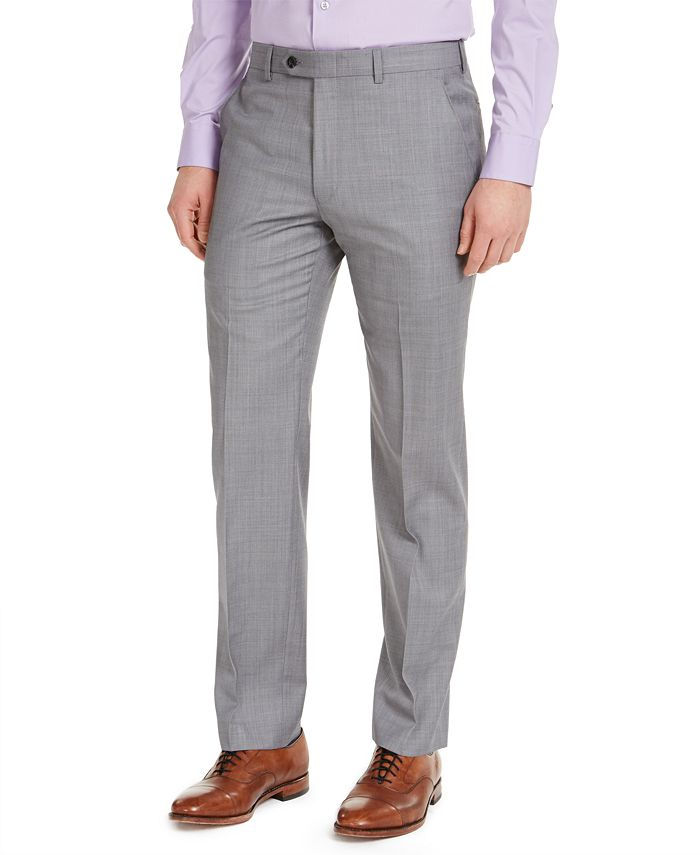 Michael Kors - Men's Classic-Fit Airsoft Stretch Gray Sharkskin Suit Pants