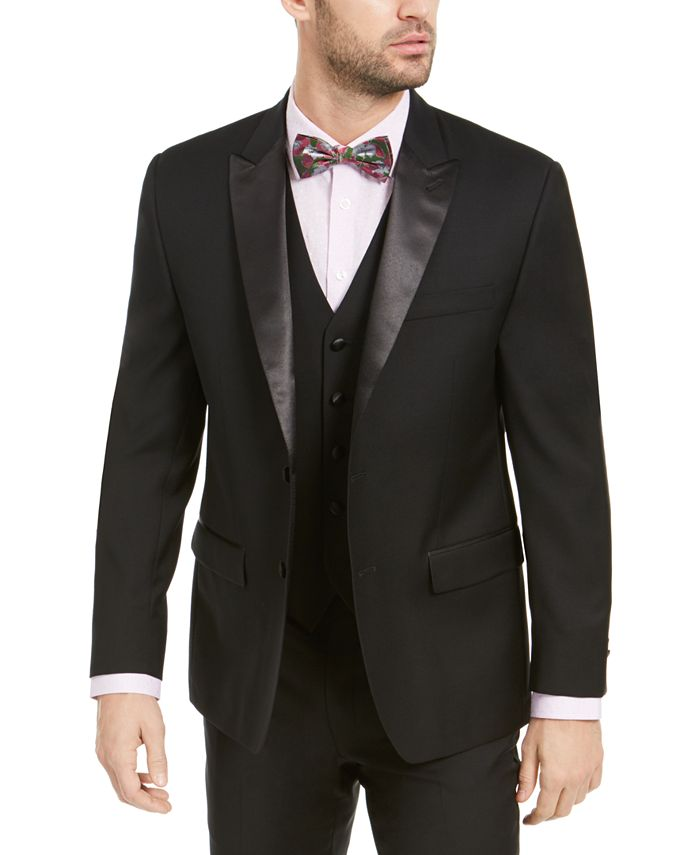 Lauren Ralph Lauren - Men's Classic-Fit UltraFlex Stretch Black Peak Lapel Tuxedo Jacket