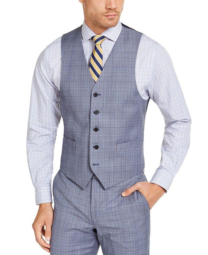 Lauren Ralph Lauren - Men's Classic-Fit UltraFlex Stretch Light Blue Plaid Suit Vest