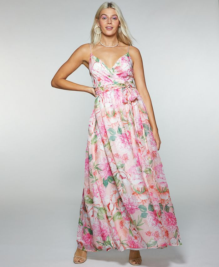 Trixxi - Juniors' Floral-Print Belted Crossover Gown