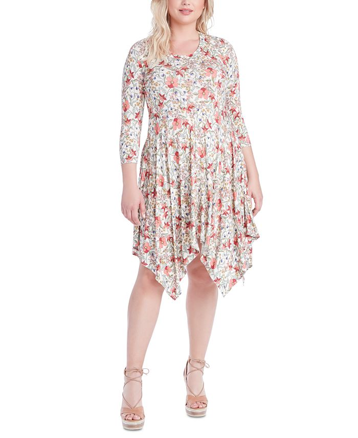 Jessica Simpson - Trendy Plus Size Kaelin Printed Handkerchief-Hem Dress