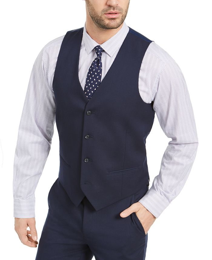 Alfani - Men's Slim-Fit Stretch Navy Blue Solid Suit Vest