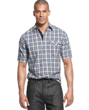 Sean John Shirt Mini Check Short Sleeve Shirt