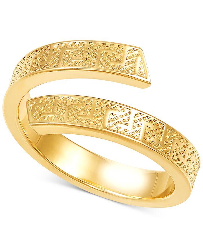 Italian Gold - Greek Key Bypass Statement Ring in 10k Gold