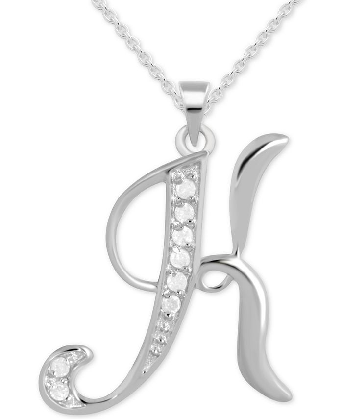 """Macy's - Diamond K Initial 18"""" Pendant Necklace (1/10 ct. t.w.) in Sterling Silver"""