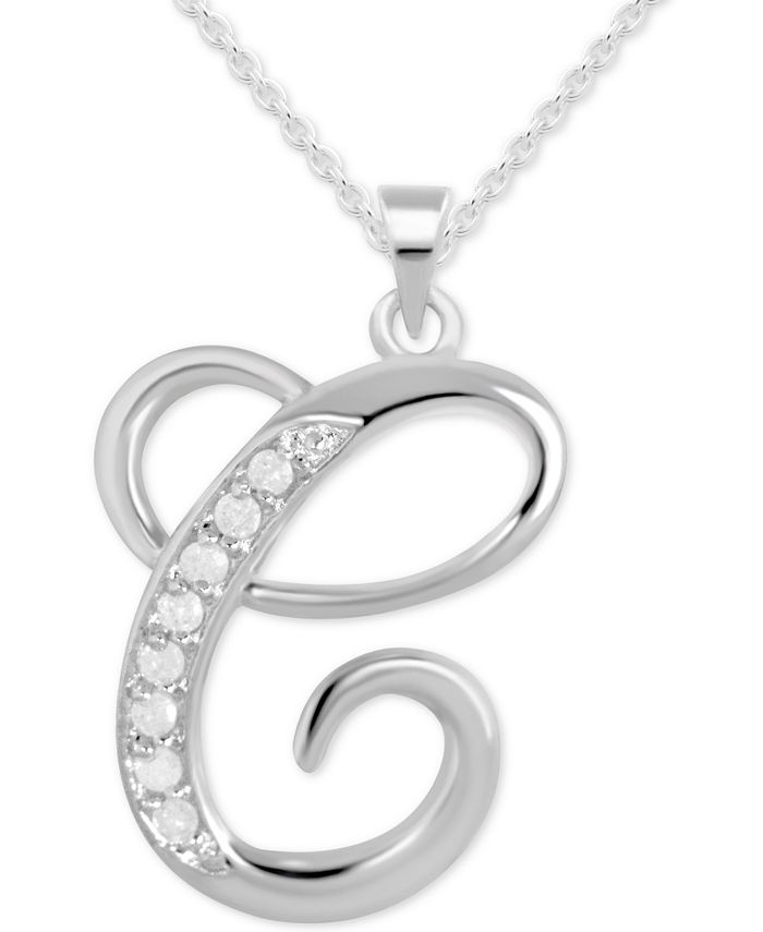 "Macy's - Diamond C Initial 18"" Pendant Necklace (1/10 ct. t.w.) in Sterling Silver"