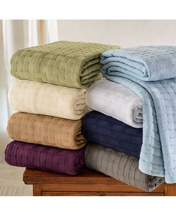 Superior Basket Weave Woven All Season Blanket, Twin