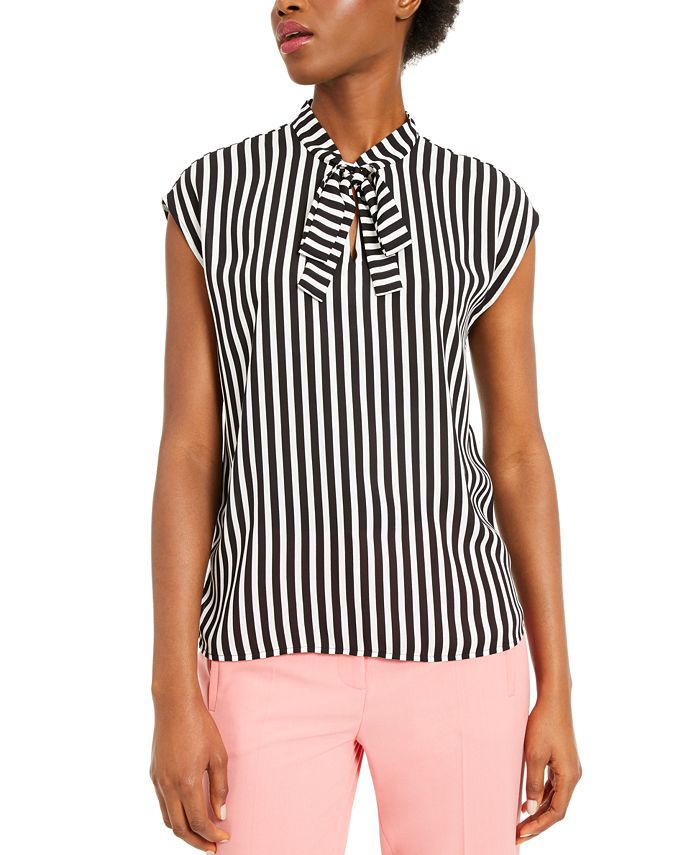 Bar III - Striped Tie-Neck Top