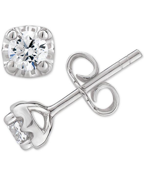 Macy's  Certified Diamond Stud Earrings (1/2 ct. t.w.) in 14k White, Yellow or Rose Gold