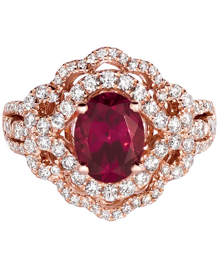Le Vian - Raspberry Rhodolite (1-9/10 ct. t.w.) & Diamond (7/8 ct. t.w.) Ring in 14k Rose Gold