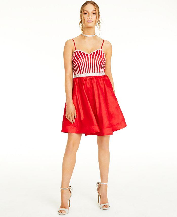 Crystal Doll - Juniors' Rhinestone Fit & Flare Dress