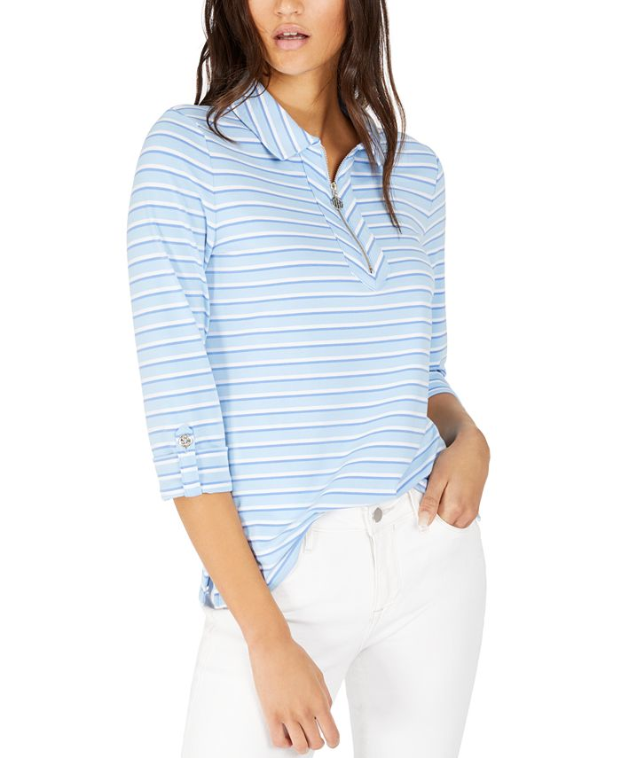 Tommy Hilfiger - Striped Zip-Front Top