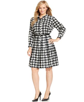 Calvin Klein Plus Size Dress Houndstooth Print Belted A Line