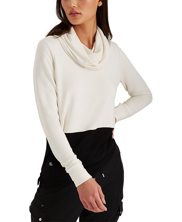 Lauren Ralph Lauren Colorblock Cowl Neck Top
