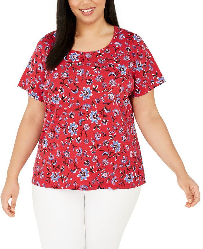 Karen Scott - Plus Size Printed Scoop-Neck T-Shirt
