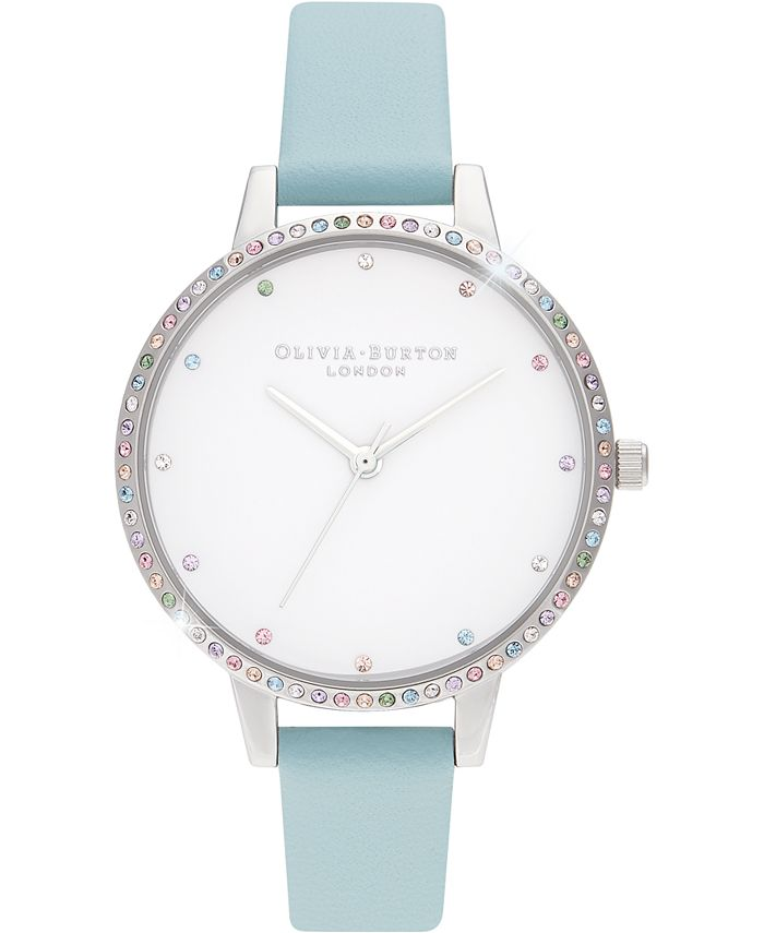 Olivia Burton - Women's Rainbow Turquoise Leather Strap Watch 34mm