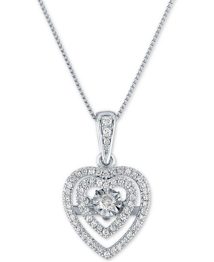 "Macy's - Diamond Heart 18"" Pendant Necklace (1/4 ct. t.w.) in 10k White Gold"