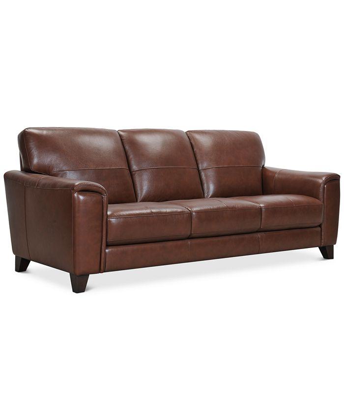 "Furniture - Brayna 88"" Leather Sofa"