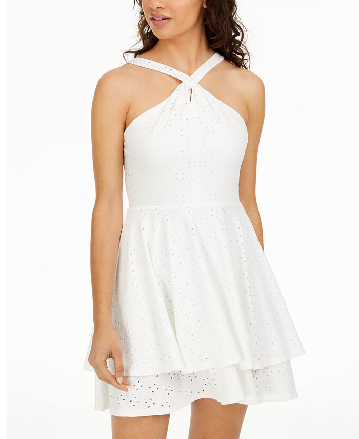 Sequin Hearts - Juniors' Twisted Eyelet Dress