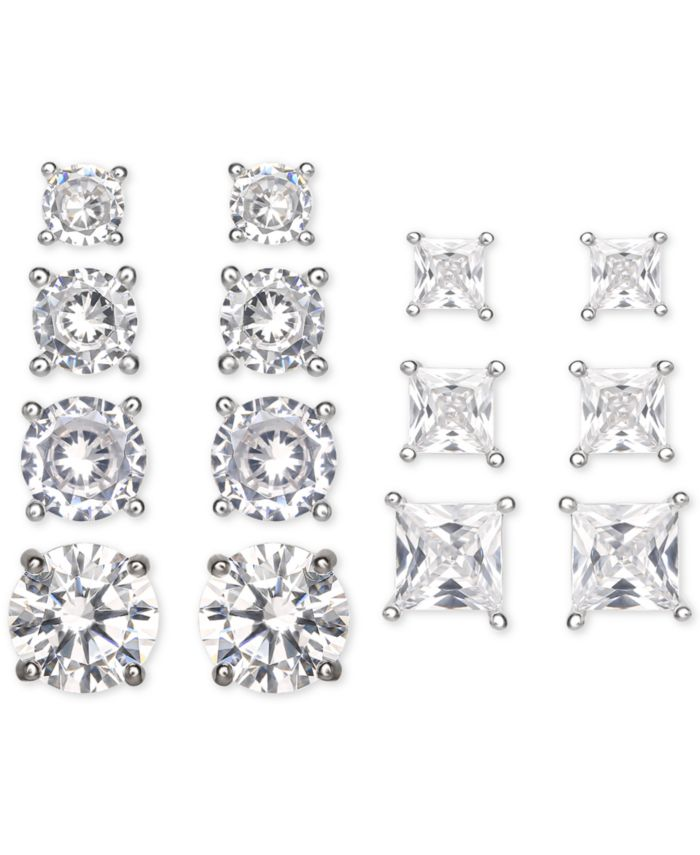 Macy's 7-Pc. Set Cubic Zirconia Princess & Round Cut Graduated Stud Earrings in Sterling Silver & Reviews - Earrings - Jewelry & Watches - Macy's
