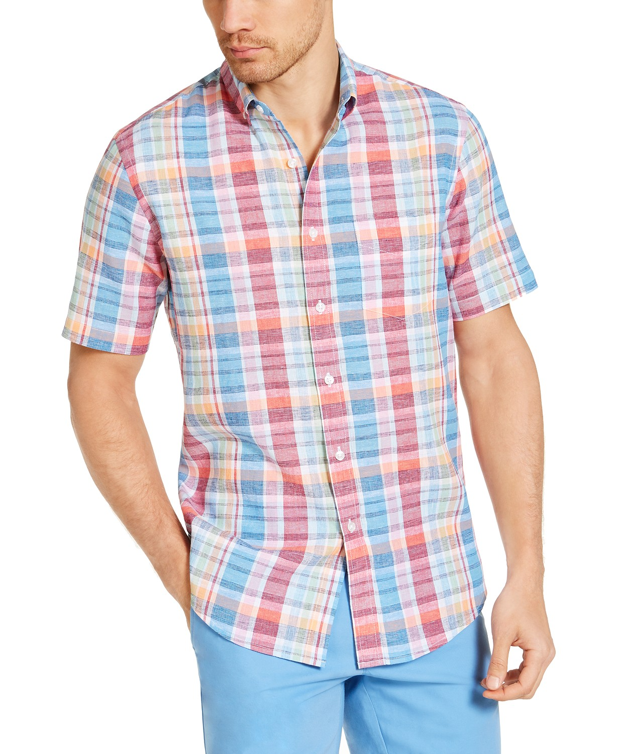 Club Room Men's Calder Check Short Sleeve Shirt