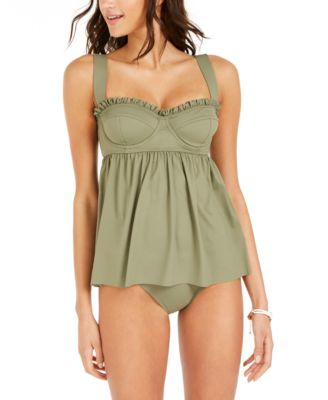 Ruffled Underwire Babydoll Tankini Top