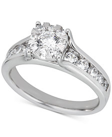 Diamond Halo Channel-Set Engagement Ring (1 ct. t.w.) in 14k White Gold