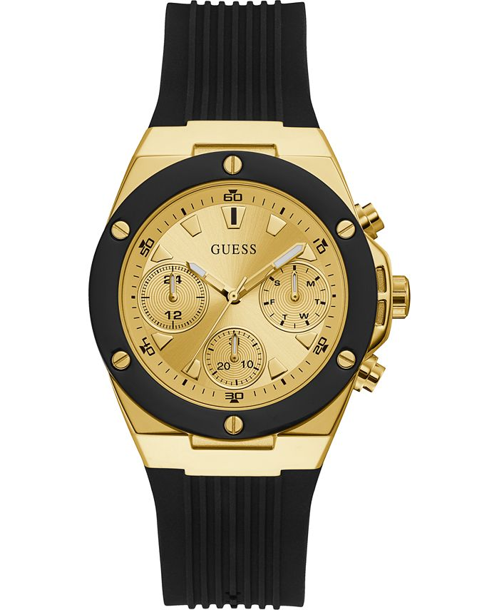 GUESS - Women's Black Silicone Strap Watch 39mm