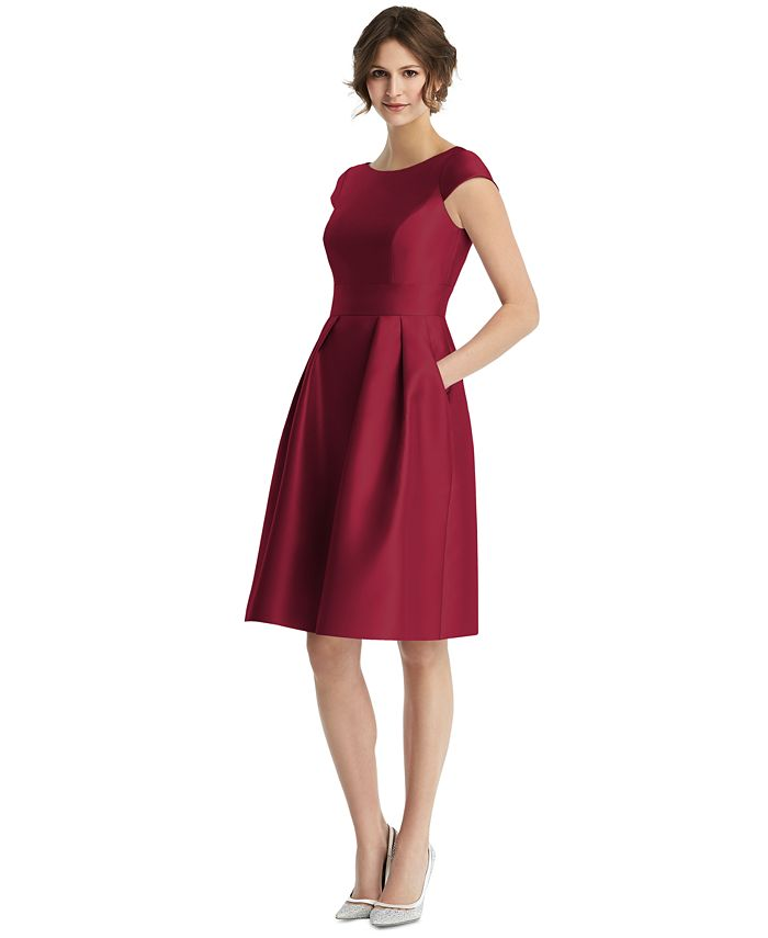 Alfred Sung - Boat-Neck Fit & Flare Dress