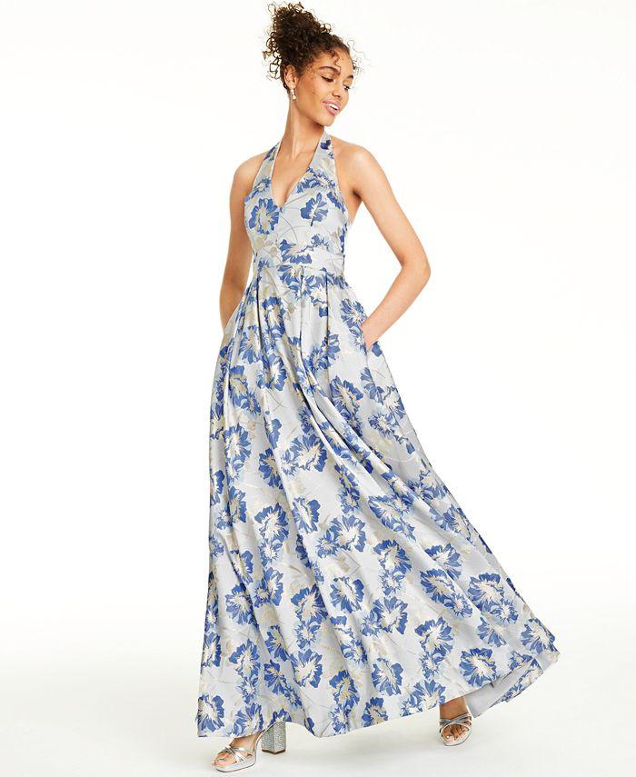 Speechless - Juniors' Metallic Floral Brocade Halter Gown