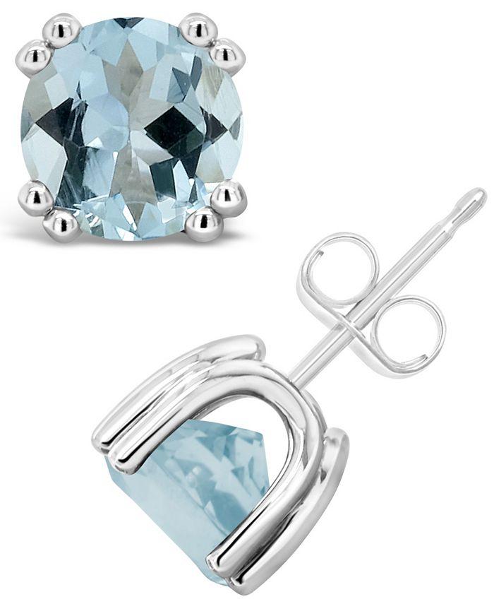 Macy's - Aquamarine (2-1/2 ct. t.w.) Stud Earrings in Sterling Silver