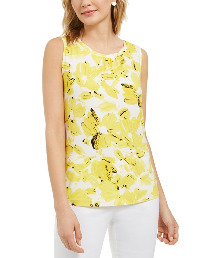 Kasper - Monet Floral-Print Twist-Neckband Camisole Top
