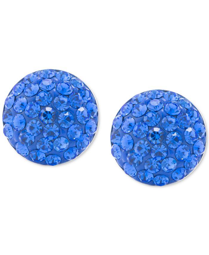 Giani Bernini - Blue Crystal Button Stud Earrings in Sterling Silver