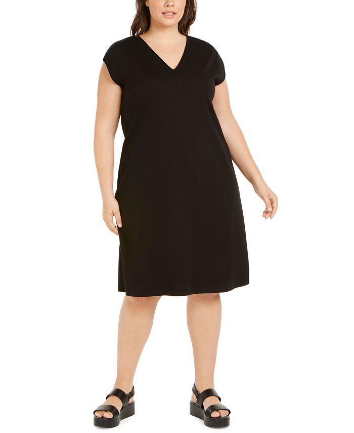 Eileen Fisher - Plus Size Cap-Sleeve Popover Dress
